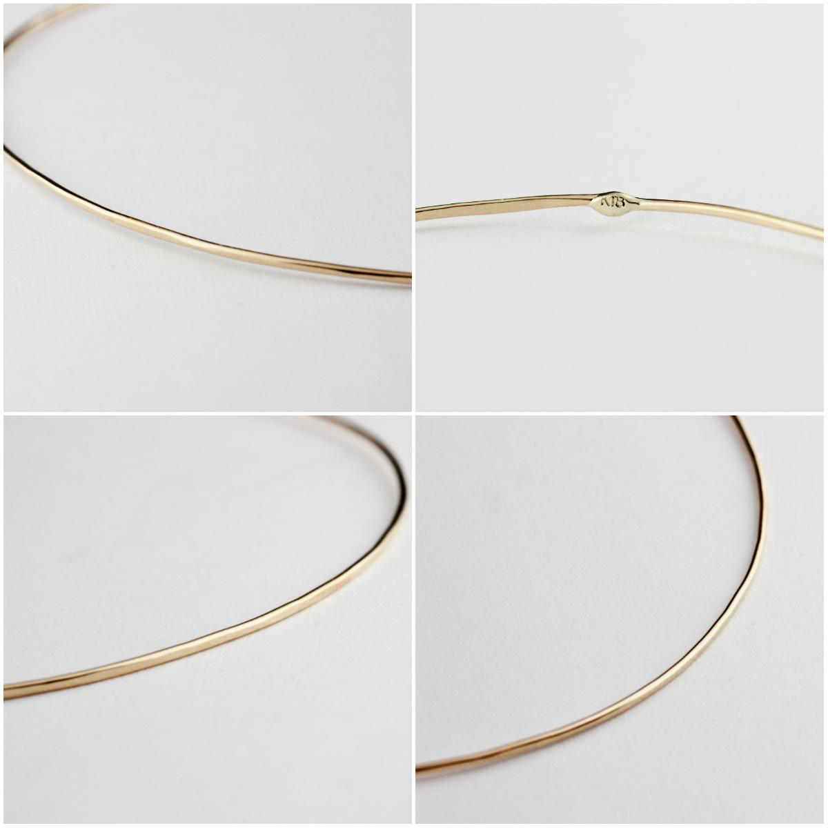 レデッサンドゥデュー 金線 ハンドメイド 華奢 バングル les desseins de DIEU Solid Gold Bangle 0.7mm Handmade K18