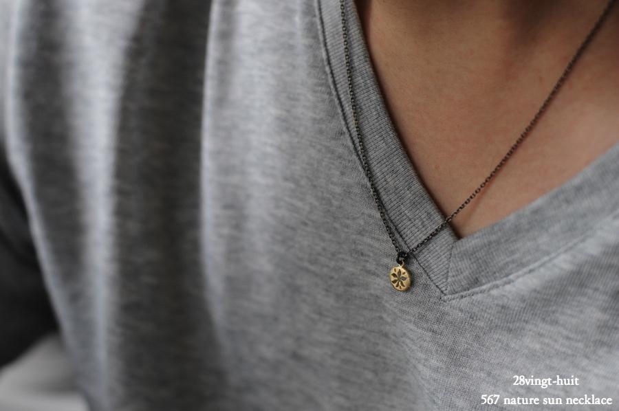 ヴァンユイット 567 太陽 サン ネックレス 18金 シルバー メンズ,28vingt-huit Nature Sun Necklace K18 Silver Mens