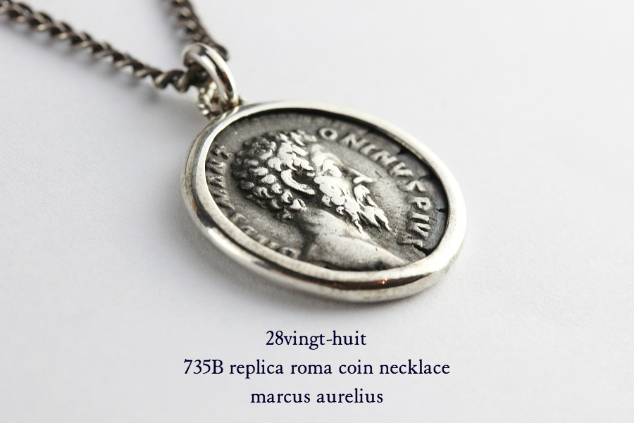 28vingt-huit 735B レプリカ ローマ コイン アウレリウス ネックレス メンズ シルバー,ヴァンユィット Roma Coin Necklace Silver Mens