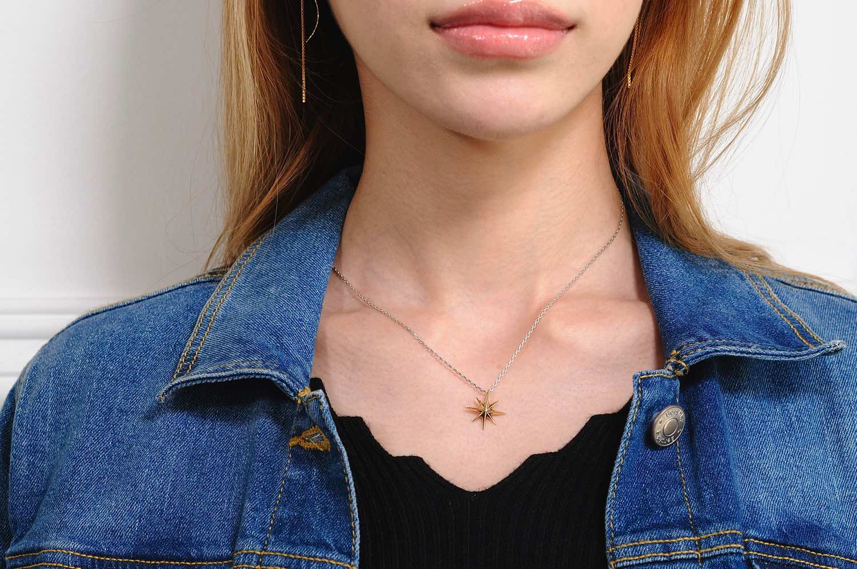 トゥー プライ 589 ポラリス 北極星 ゴールド ネックレス ペンダント 18金 シルバー,two ply Polaris Gold Necklace K18 Silver