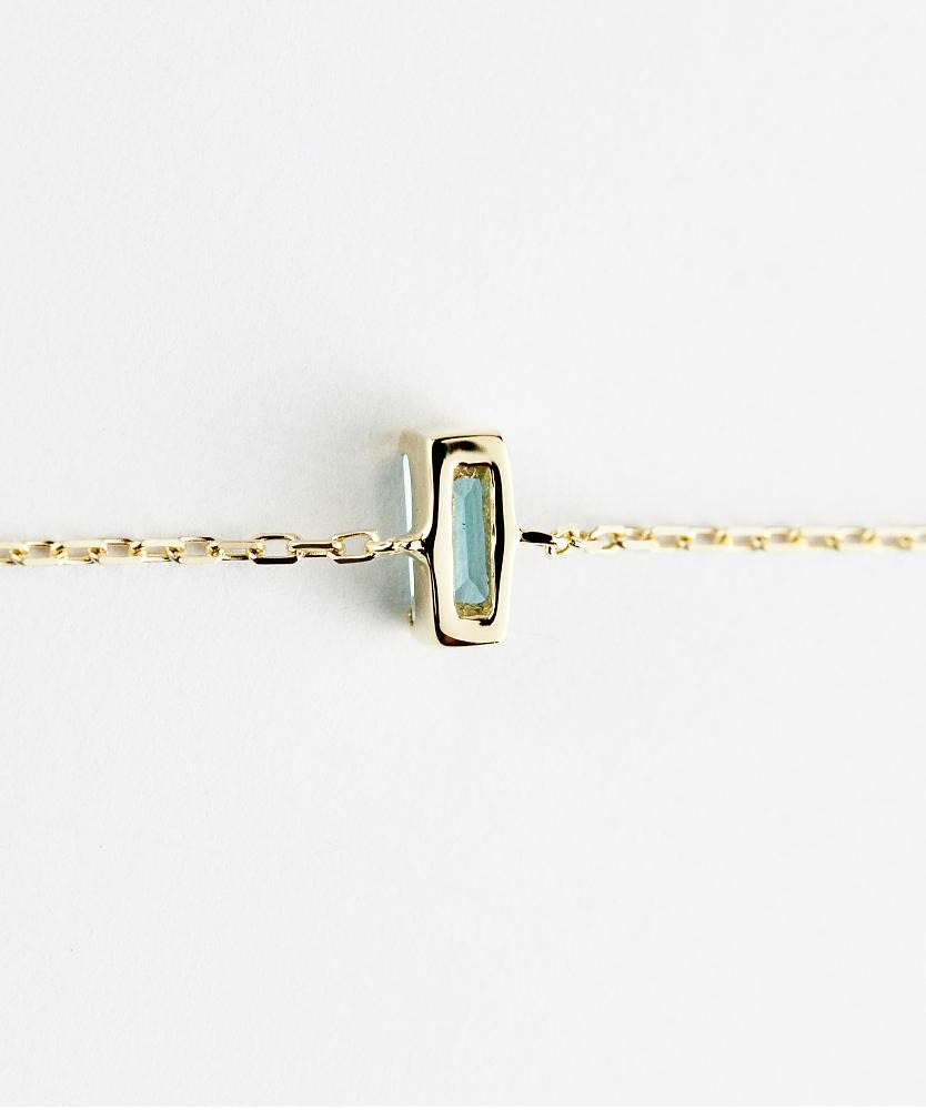 トゥー プライ 604 ブルートパーズ バケットカット 華奢ブレスレット 18金,two ply  Precious Stone Blue Topaz Bracelet K18