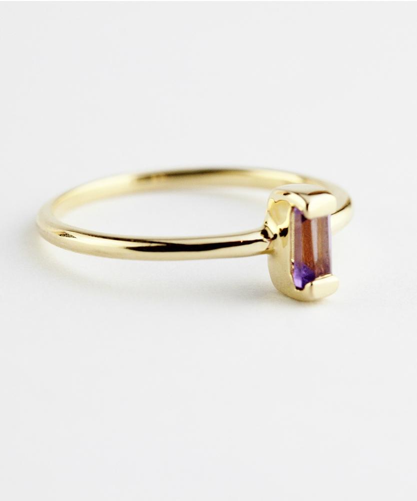トゥー プライ 606 アメシスト バケットカット 華奢リング ピンキーリング 18金,two ply  Precious Stone Amethyst Ring Pinky Ring K18