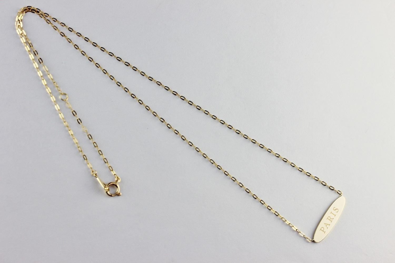 トゥー プライ 618 パーソナライズ イニシャル ナンバー オーバル バー ネックレス 18金,two ply Personalized Oval Bar Necklace K18