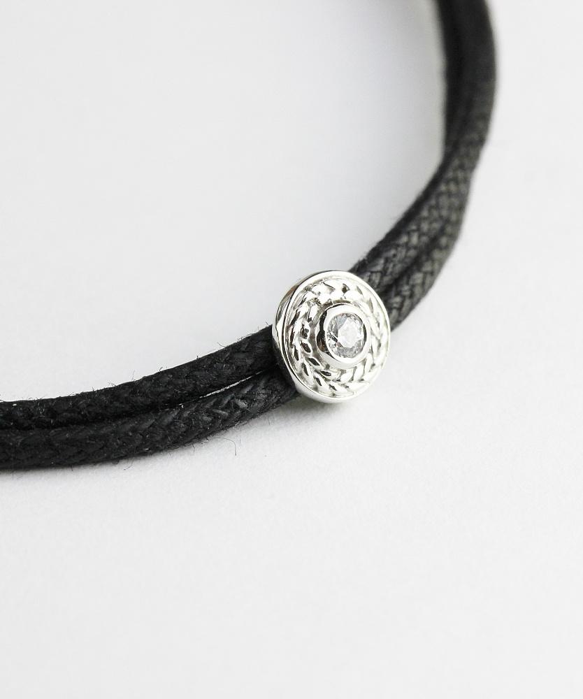 トゥー プライ 636 ラジアル パターン ワックスコード 紐ブレスレット シルバー925,two ply Radial Pattern Wax Cord Bracelet Silver