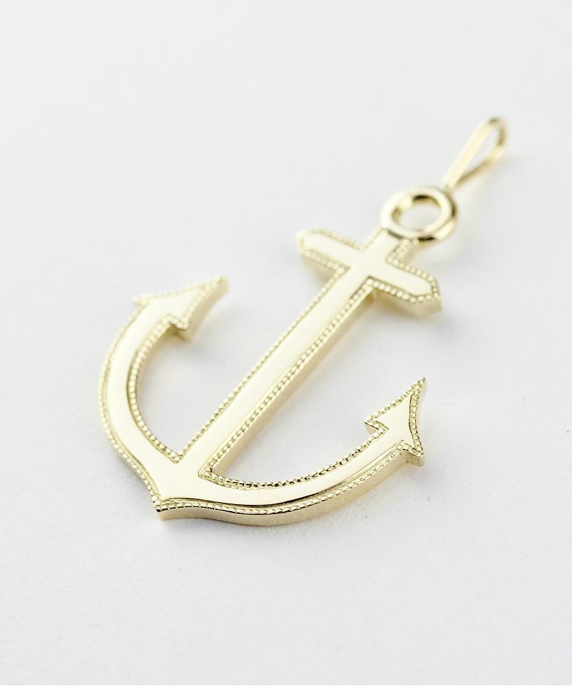 トゥー プライ 639 ミルグレイン アンカー 錨 イカリ ゴールド ネックレス チャーム 18金,two ply Milgrain Anchor Gold Charm K18