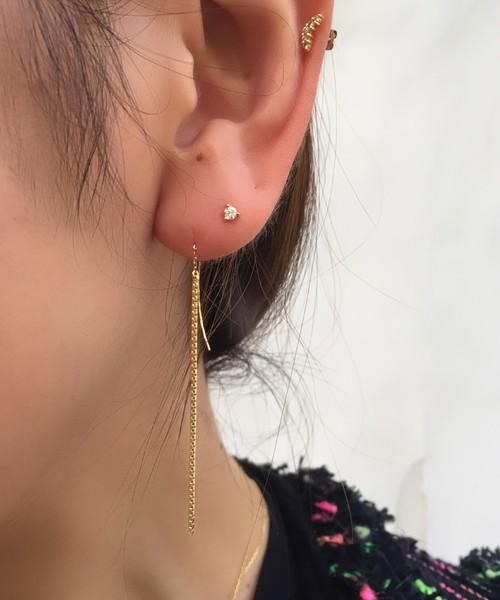 ピナコテーカ 563 3本爪 シンプル 一粒ダイヤモンド 華奢ピアス 18金,pinacoteca Solitaire Diamond Stud Earrings K18