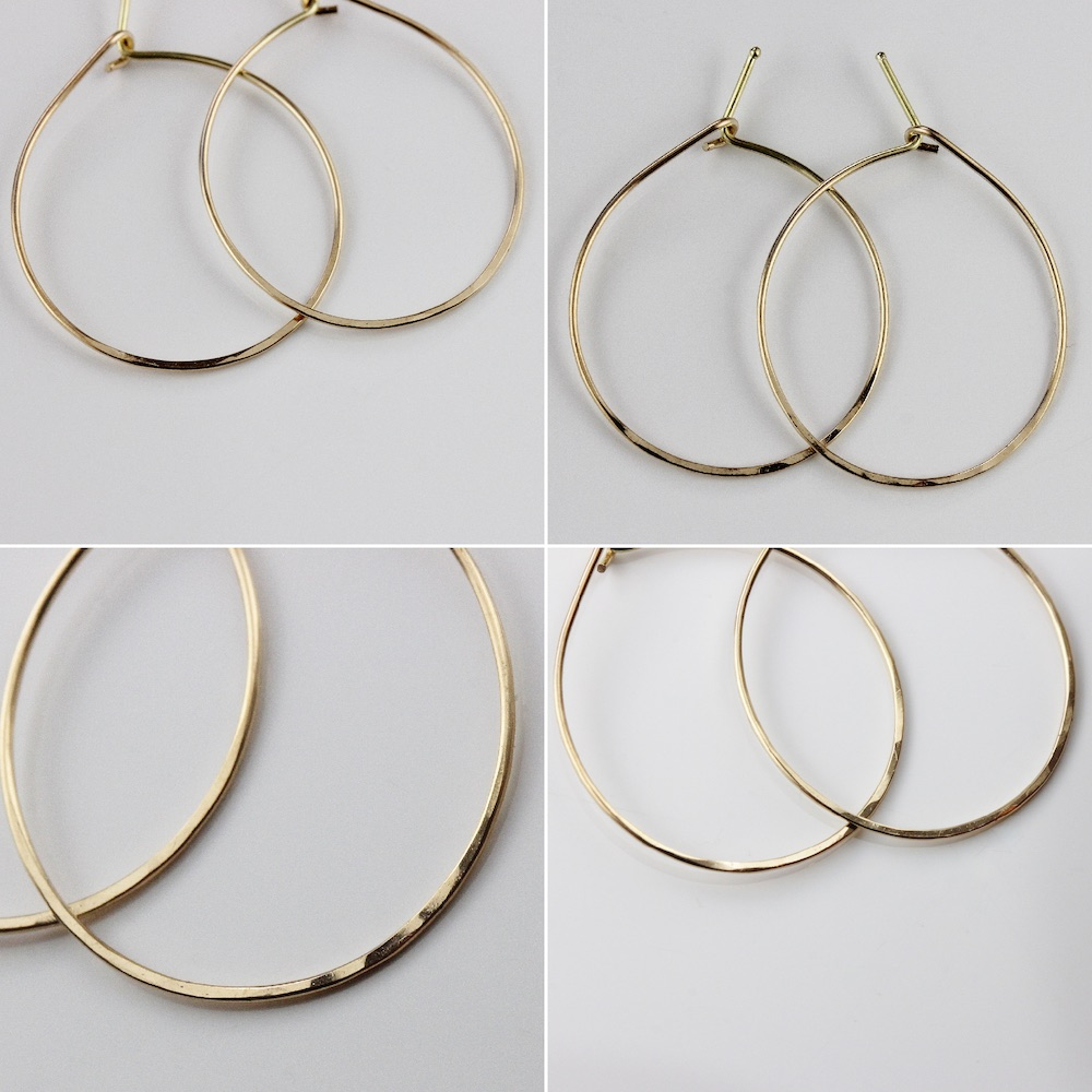 レデッサンドゥデュー 121 フープピアス ハンドメイド 18金 華奢,les desseins de DIEU Solid Gold Hoop Earrings K18