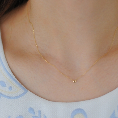 レデッサンドゥデュー 245 マイクロ ハート 華奢ネックレス 18金,les desseins de DIEU Micro Heart Necklace K18