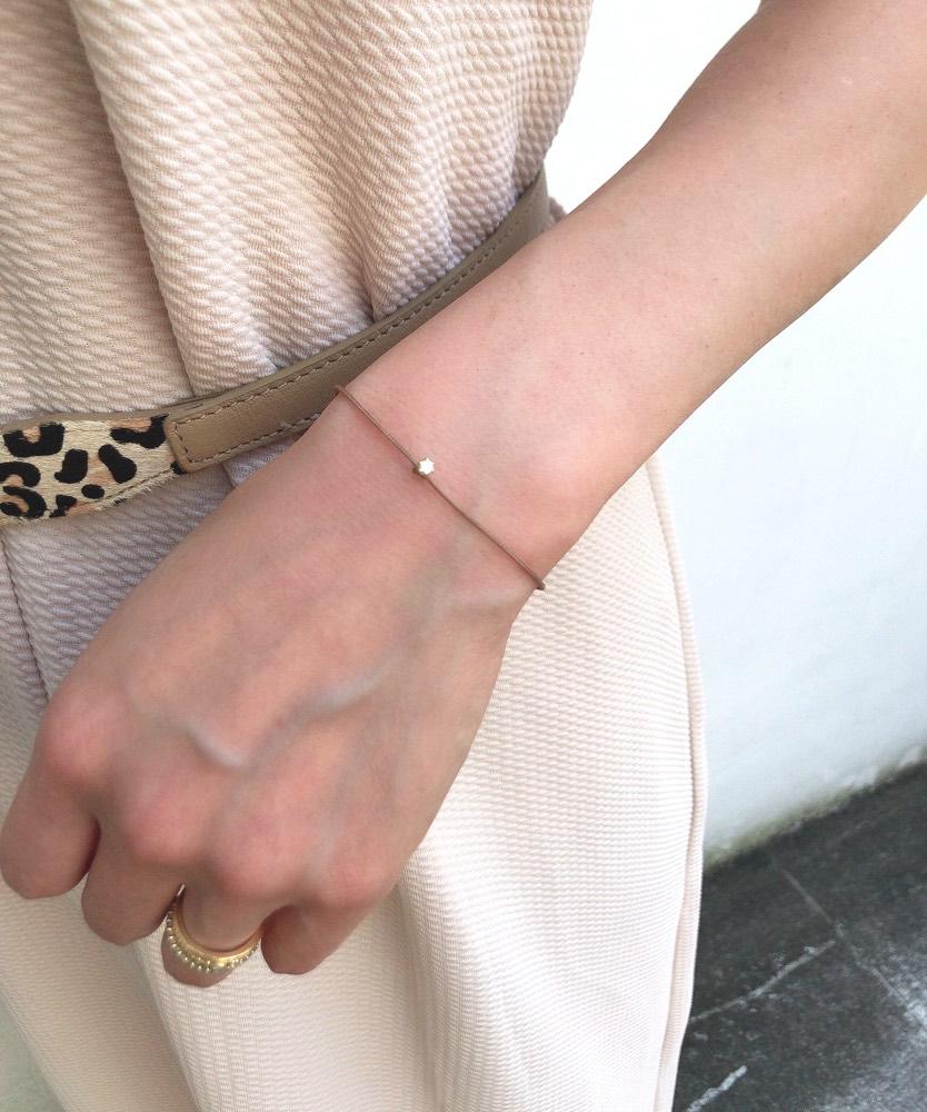 レデッサンドゥデュー 65S ベル 一粒ダイヤモンド サテン コード 紐ブレスレット 18金,Bell Diamond Satin Cord Bracelet K18