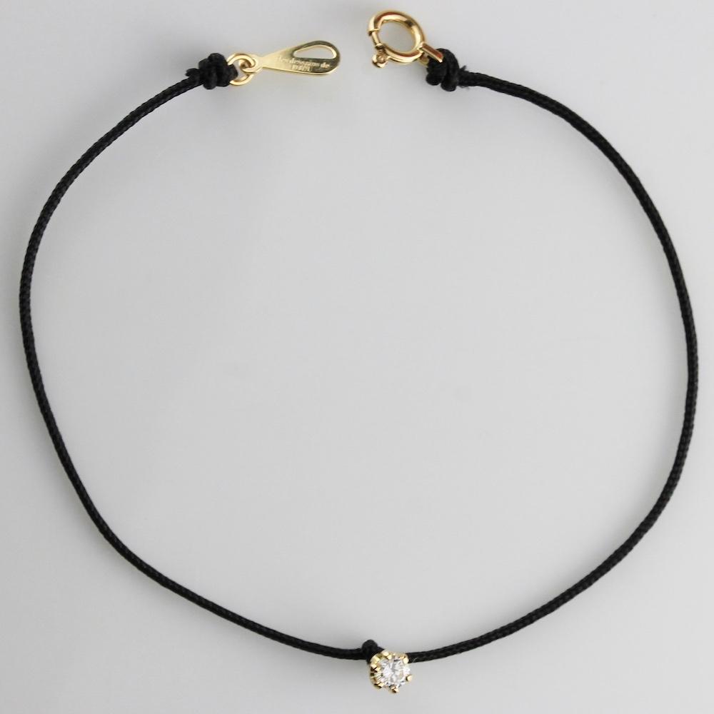 レデッサンドゥデュー 971 ベル 一粒ダイヤモンド サテン コード 紐ブレスレット 18金,Bell Diamond Satin Cord Bracelet 0.07ct K18