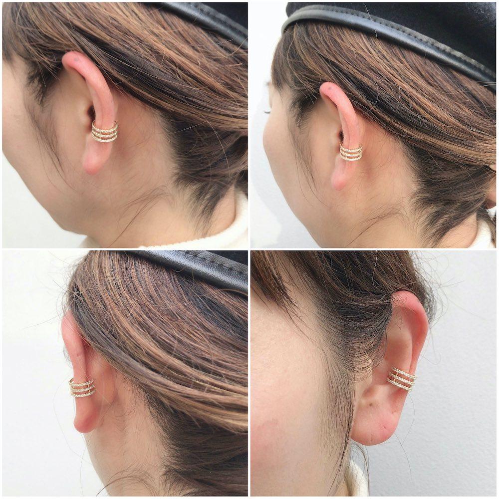 レデッサンドゥデュー 974 3連 ダイヤモンド イヤーカフ 18金,les desseins de DIEU Triple Stranded Diamond Ear Cuff K18