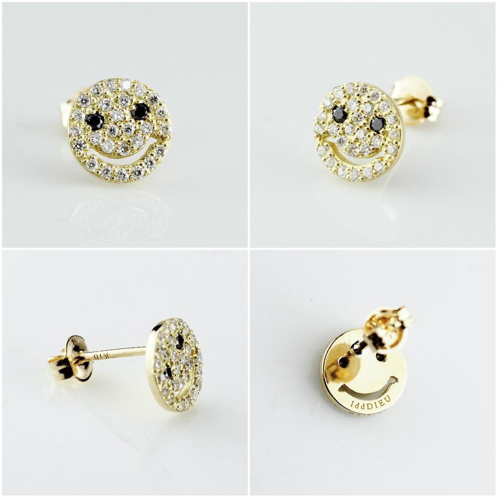 レデッサンドゥデュー 976 スモール スマイル ダイヤモンド ピアス 18金,les desseins de DIEU Smile Diamond Stud Earrings K18