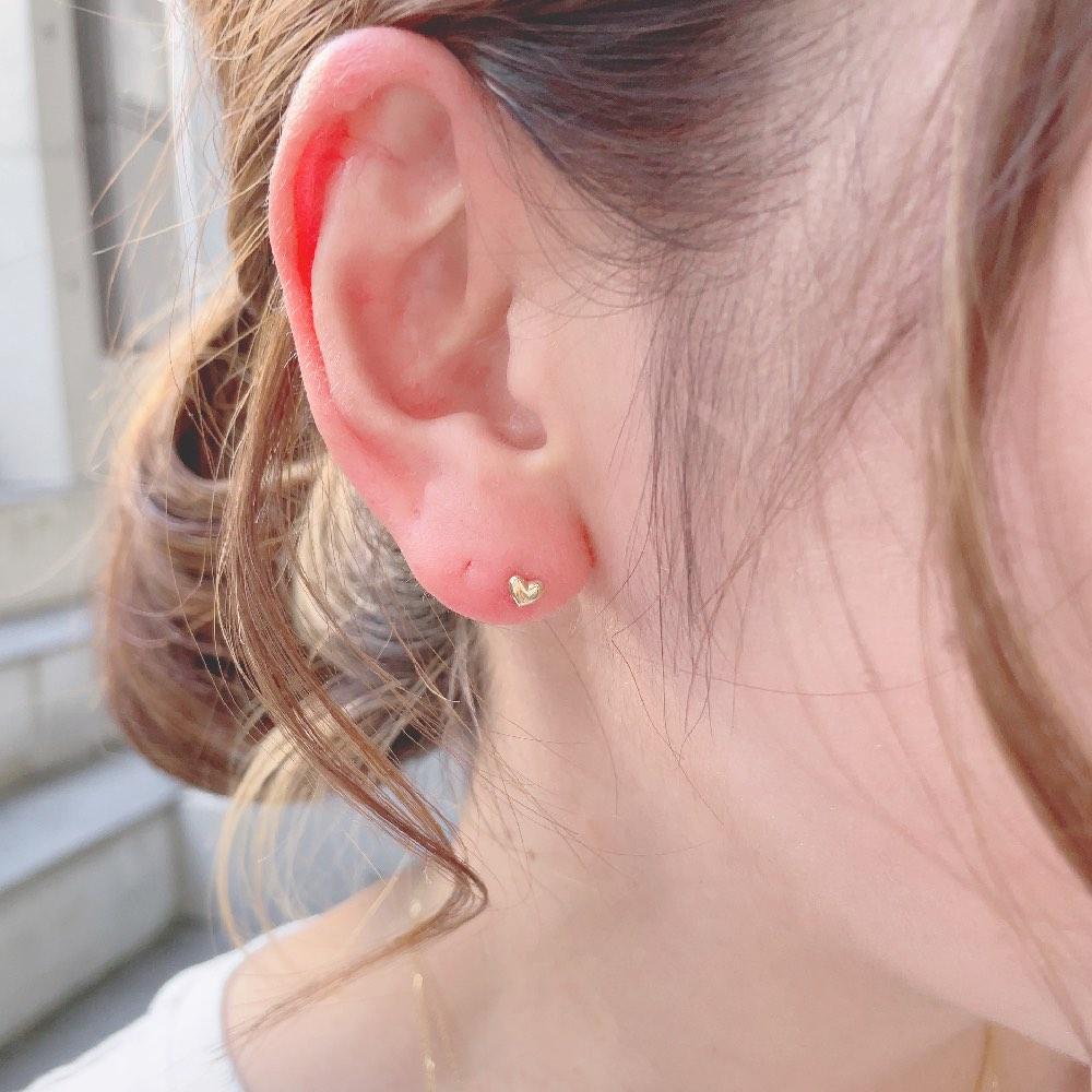レ デッサン ドゥ デュー 987 パフ ハート スタッドピアス 18金 片耳,les desseins de DIEU Puffed Heart Stud Earring K18