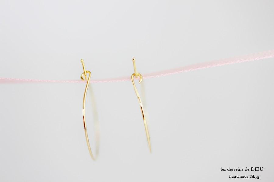 les desseins de DIEU 121 Solid Gold Hoop Earrings 1.5 レデッサンドゥデュー 金線 ハンドメイド フープピアス