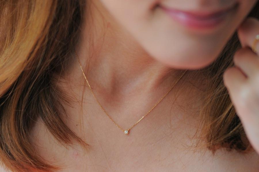 ピナコテーカ ミル打ち 一粒ダイヤモンド ネックレス 0.05ct 人気 プレゼント オススメ お洒落なブランド 18金 華奢,pinacoteca K18 Necklace