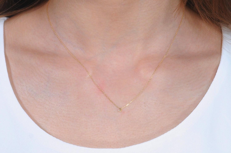 ピナコテーカ 極小サイズ 一粒ダイヤ  アルファベット 華奢ネックレス 18金,pinacoteca 344 Tiny Initial Necklace K18