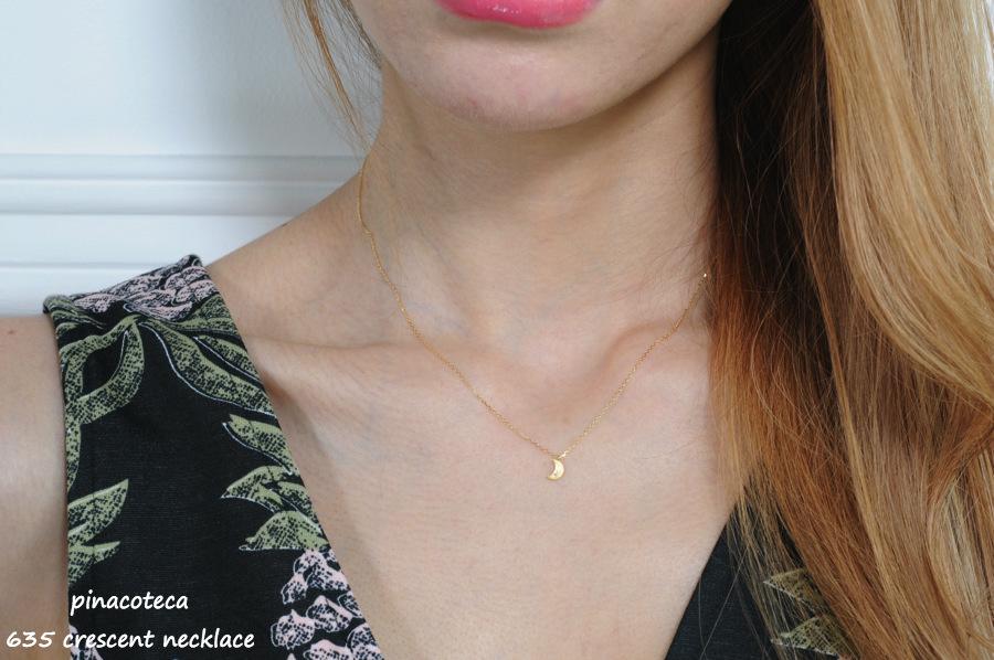 pinacoteca 635 Crescent Diamond Necklace K18,ピナコテーカ 月 ムーン ダイヤモンド 華奢 ネックレス 18金