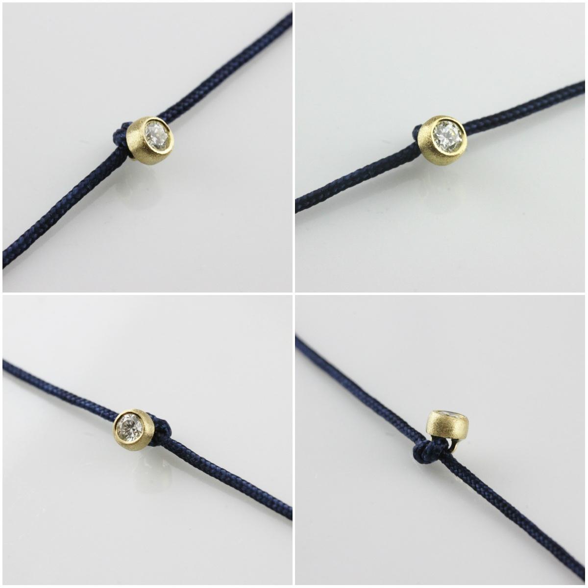ピナコテーカ 726 マット ベル 一粒ダイヤモンド サテンコード 紐ブレスレット 18金,Diamond Satin Cord Bracelet K18