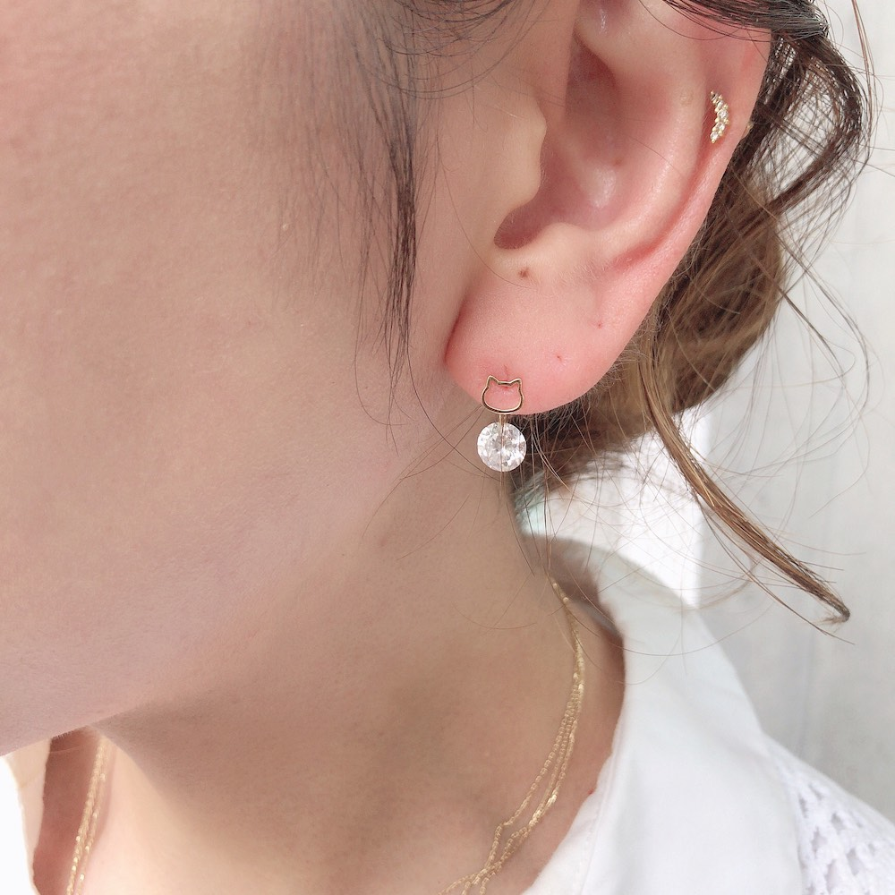 ピナコテーカ 731 猫 顔 スタッド ピアス 子猫 華奢 キャット フェイス 18金,pinacoteca Cat Face Silhouette Stud Earring K18