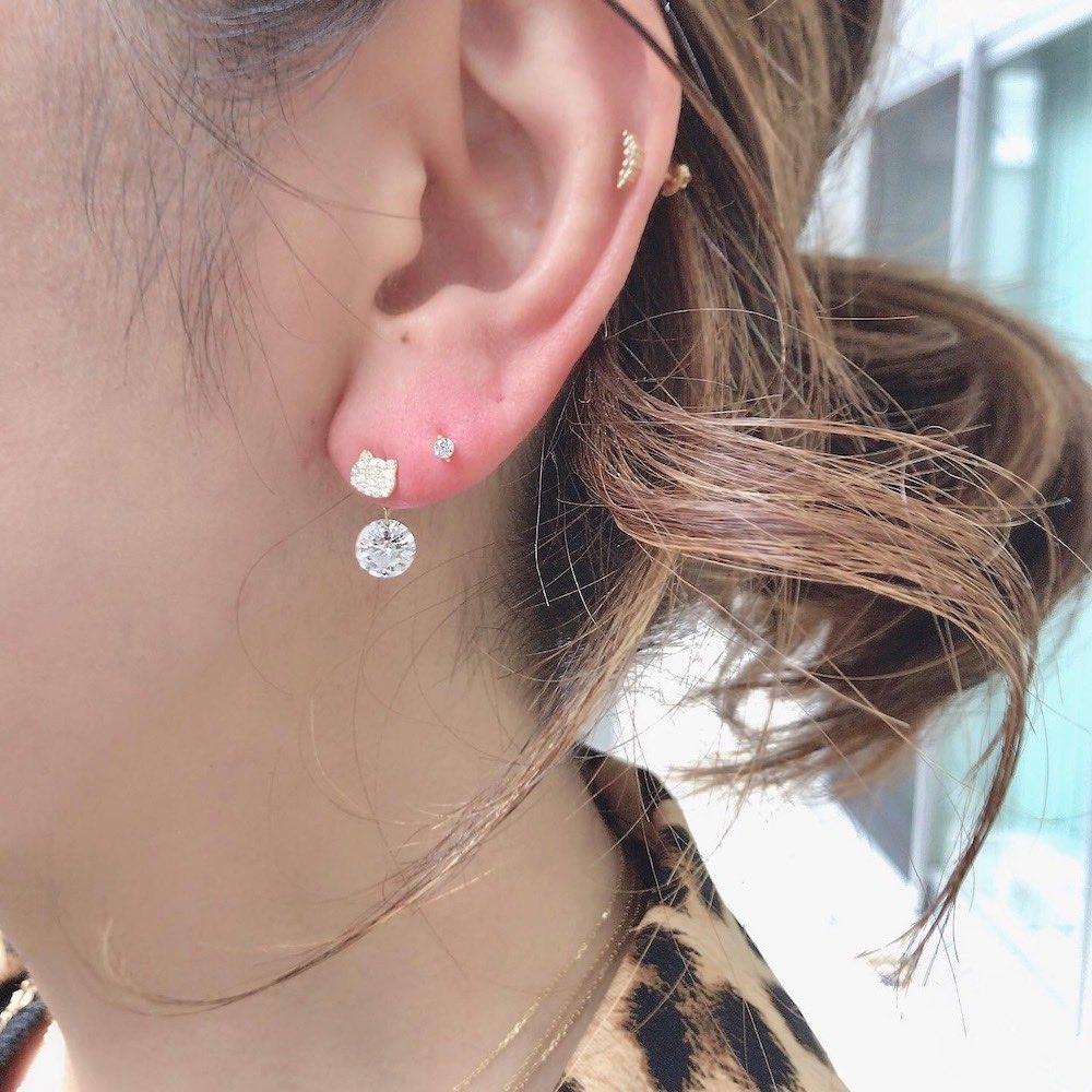 ピナコテーカ 738 猫 顔 ダイヤモンド ピアス ねこ キャット 18金,pinacoteca Cat Face Pave Diamond Stud Earring K18