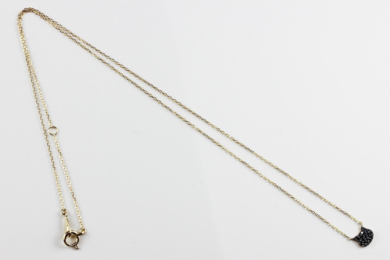 ピナコテーカ 741 黒猫 ブラック ダイヤモンド 華奢 ネックレス ねこ キャット 18金,pinacoteca Black Cat Pave Diamond Necklace K18