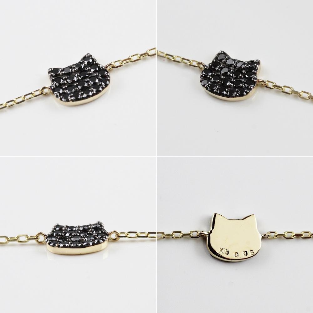 ピナコテーカ 742 黒猫 ブラック ダイヤモンド 華奢 ブレスレット ねこ キャット 18金,pinacoteca Black Cat Pave Diamond Bracelet K18