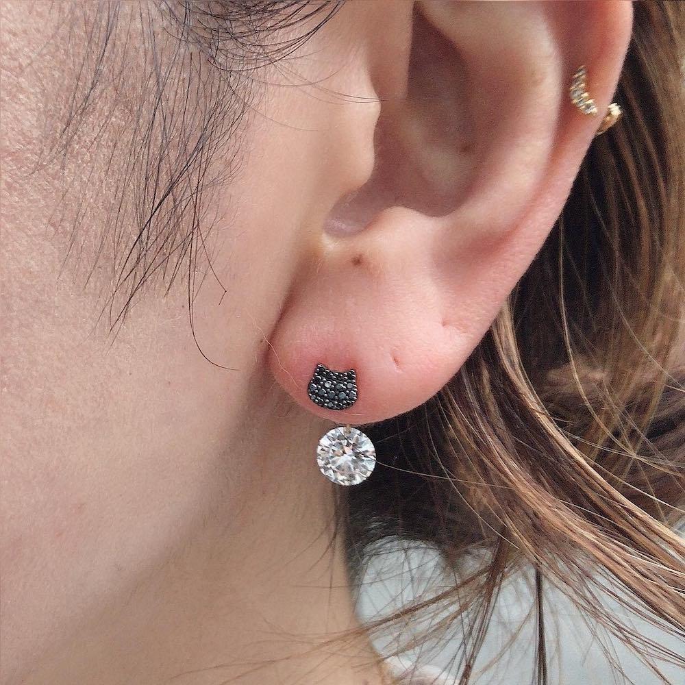 ピナコテーカ 743 黒猫 ブラック ダイヤモンド ピアス ねこ キャット 18金,pinacoteca Black Cat Pave Diamond Stud Earring K18