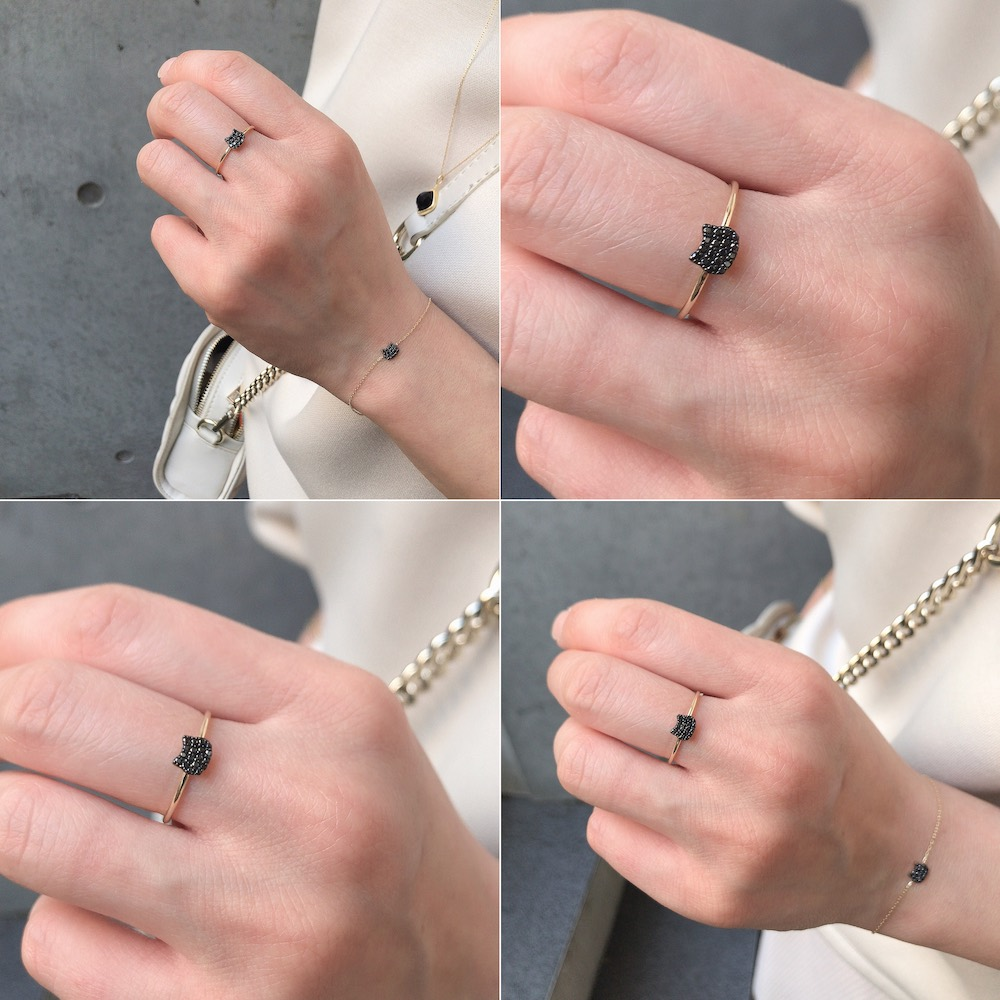 ピナコテーカ 744 黒猫 ブラック ダイヤモンド リング 指輪 ピンキー ねこ キャット 18金,pinacoteca Black Cat Pave Diamond Ring K18